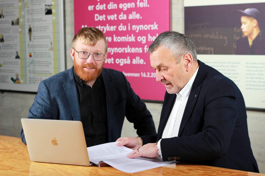 BIlete av Per Magnus Finnanger Sandsmark, direktør i Nynorsk kultursentrum og Lodve Solholm, styreleiar i Nynorsk kultursentrum.