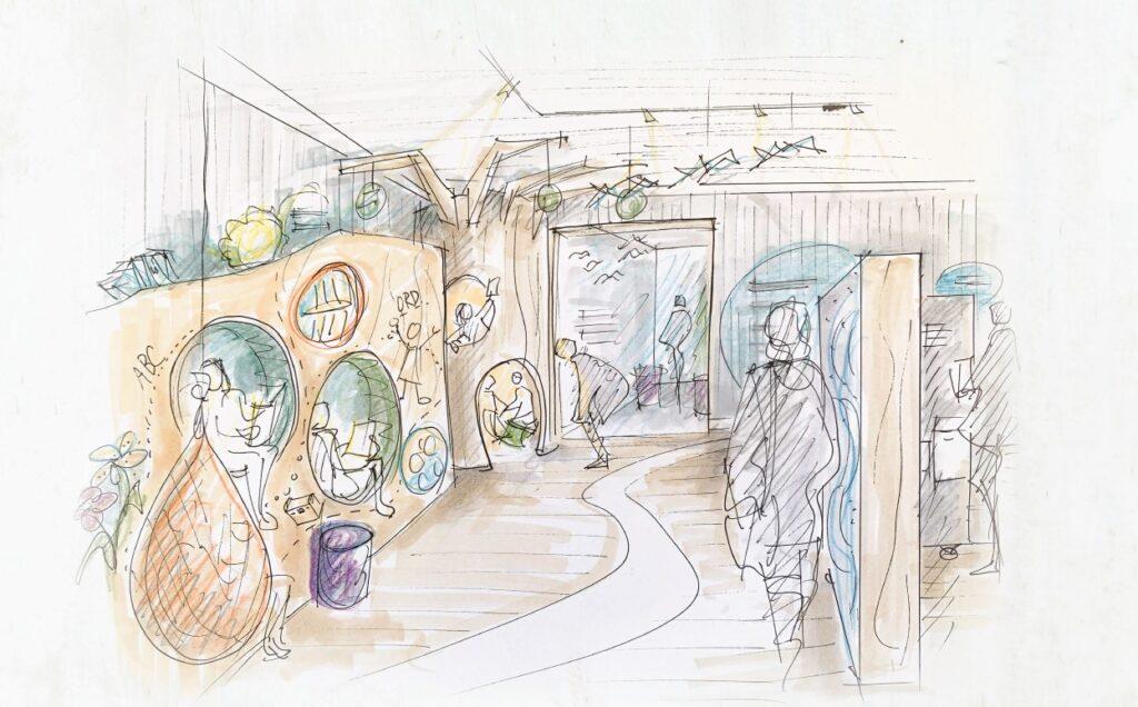 Skisse frå utstillingsdelen til barne- og ungdom om dikting ved Vinjesenteret.
